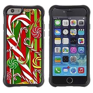 Suave TPU Caso Carcasa de Caucho Funda para Apple Iphone 6 / Cane Red White Xmas Christmas / STRONG