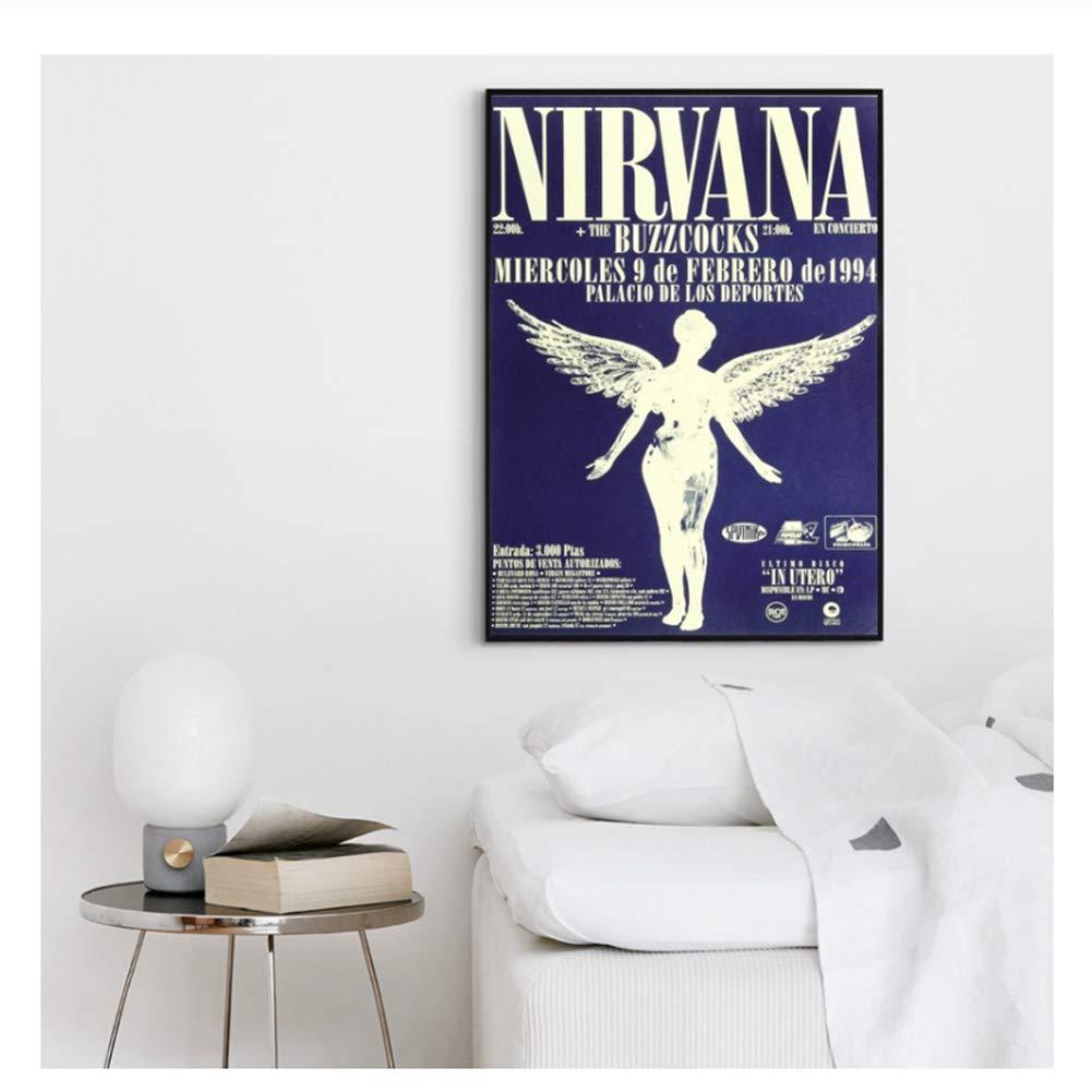Poster Nirvana Palicio De Los Deportes Concert Poster Vintage Gig Print Kurt Kobain Music Home Decor Wall Art Canvas Print-50x75cm Sin marco