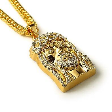 18k gold plated jesus head jesus piece pendant necklaces crystal 18k gold plated jesus head jesus piece pendant necklaces crystal iced out hip hop necklaces mens mozeypictures Images