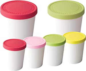 Tovolo Stackable Sweet Treat Ice Cream Tubs – 2 1-Quart & 4 Mini 6-Ounce - With Lids Freezer Storage Containers for Sorbet & Gelato, BPA-Free & Dishwasher-Safe, Set of 6, Assorted