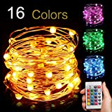 Led String Light Battery Powered, Multi 16 Color Changing 16ft with Remote, Modes Changeable, Waterproof indoor & outdoor 50 Fairy Starry Micro LEDs, for Party Christmas Decorations, EIISON