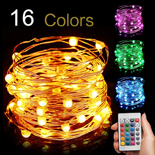 EIISON Led String Light Battery Powered, Multi 16 Color Changing 16ft with Remote, Modes Changeable, Waterproof indoor & outdoor 50 Fairy Starry Micro LEDs, for Party Christmas Decorations
