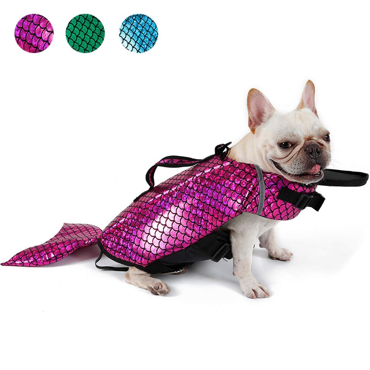 CONTACTS Dog Swimming Jacket, Reflective Dog Life Jacket Vest Swimwear, Adjustable Dog Float Coat, Pink, Extra-Large