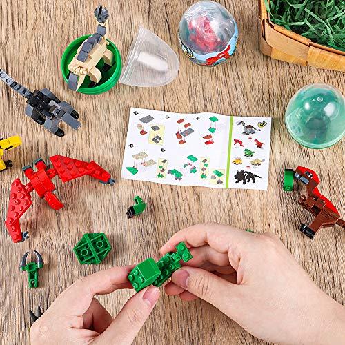 3 otters 6PCS Easter Dinosaur Eggs, Dinosaur Eggs with Dinosaurs Building Blocks STEM Dinosaur Toys for Kids Surprise Easter Eggs Easter Basket Stuffers