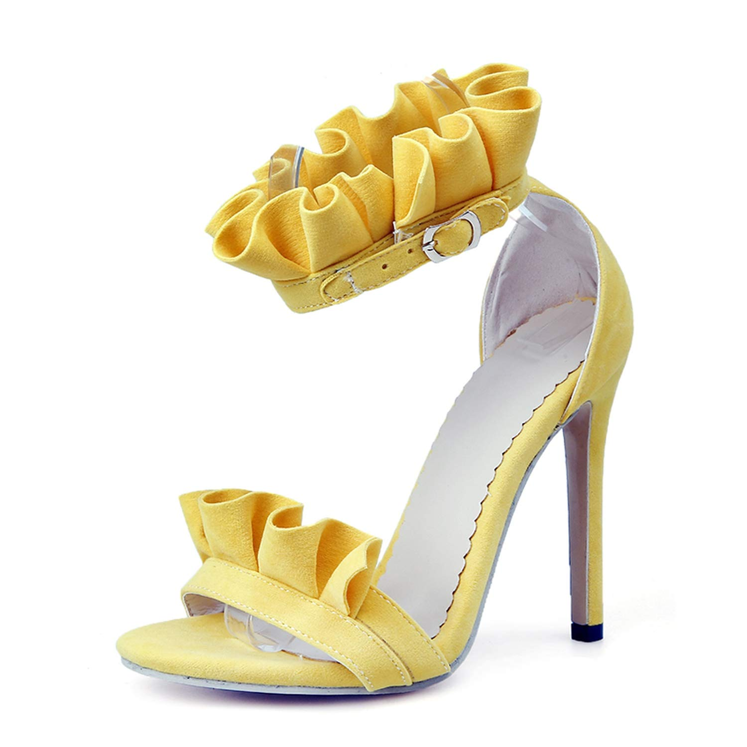 YELLOW Thin High Heel Sandals Women Sexy Ruffles Open Toe Buckle Strap Party Dress shoes Woman