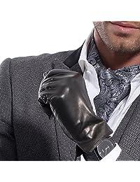 MATSU Simple Style Men Winter Warm Long Fleece Lined Leather Black Gloves M1004 (XS, Black-Long Fleece)