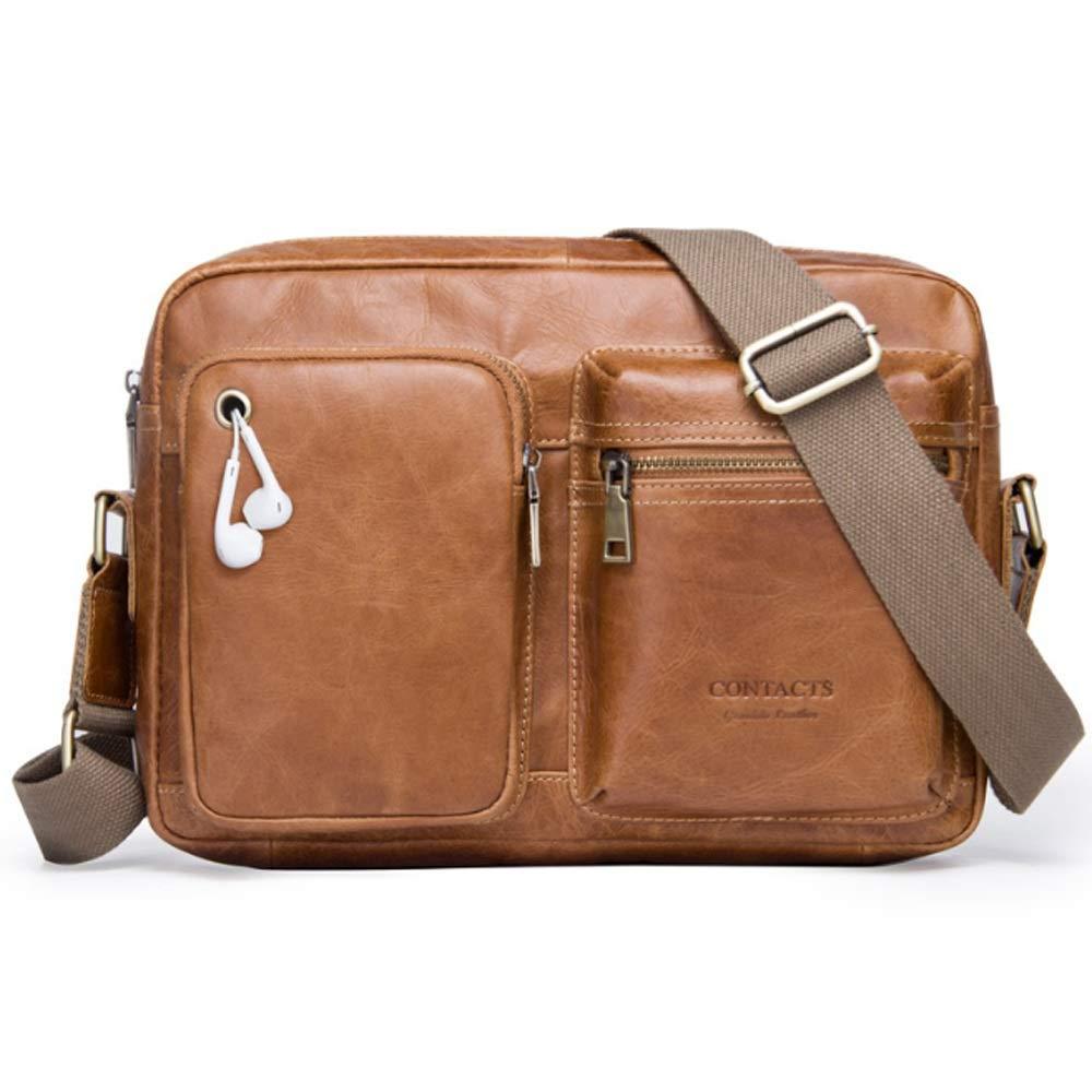 Herren Messenger Bag Leder Casual Schultertasche (Farbe   braun, Größe   M) B07PCL7Z1T Herrentaschen