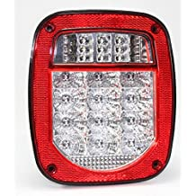Bright Clear Lens Red Jeep TJ CJ YJ JK Replacement Stop Brake Turn Tail Light without LED Illuminator (Truck Trailer Boat)