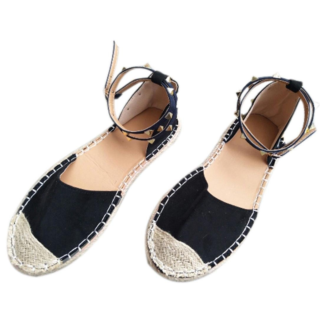 Women Round Flat Casual Straw Shoes Rivet Decorative Shoes Bandage Sandals Summer Holiday Beach Outdoor B07D6M65MC 41|Black