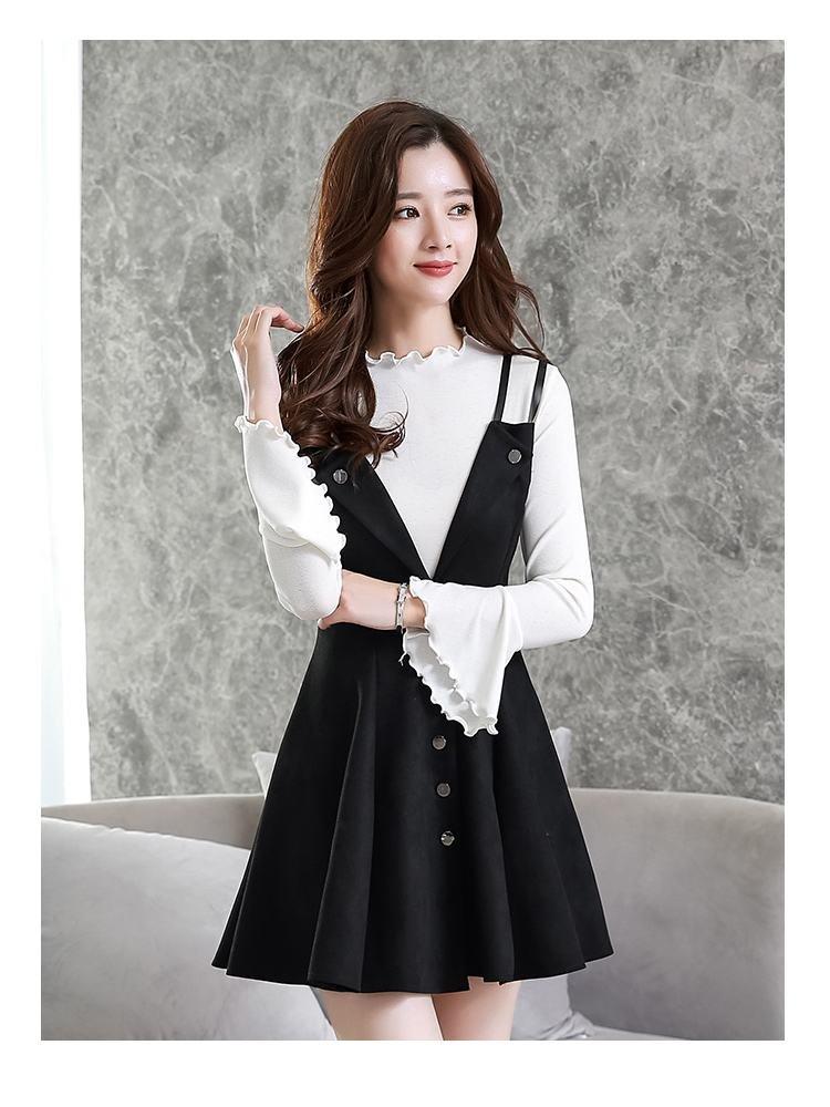 LQZ Herbst und Winter Frauen Slim War Dünne Mode Mode Mode Schlinge Anzug Zwei Sätze von Kleid Gezeiten,Schwarz,L B077SRW5DL Bekleidung Elegant d8e3b8