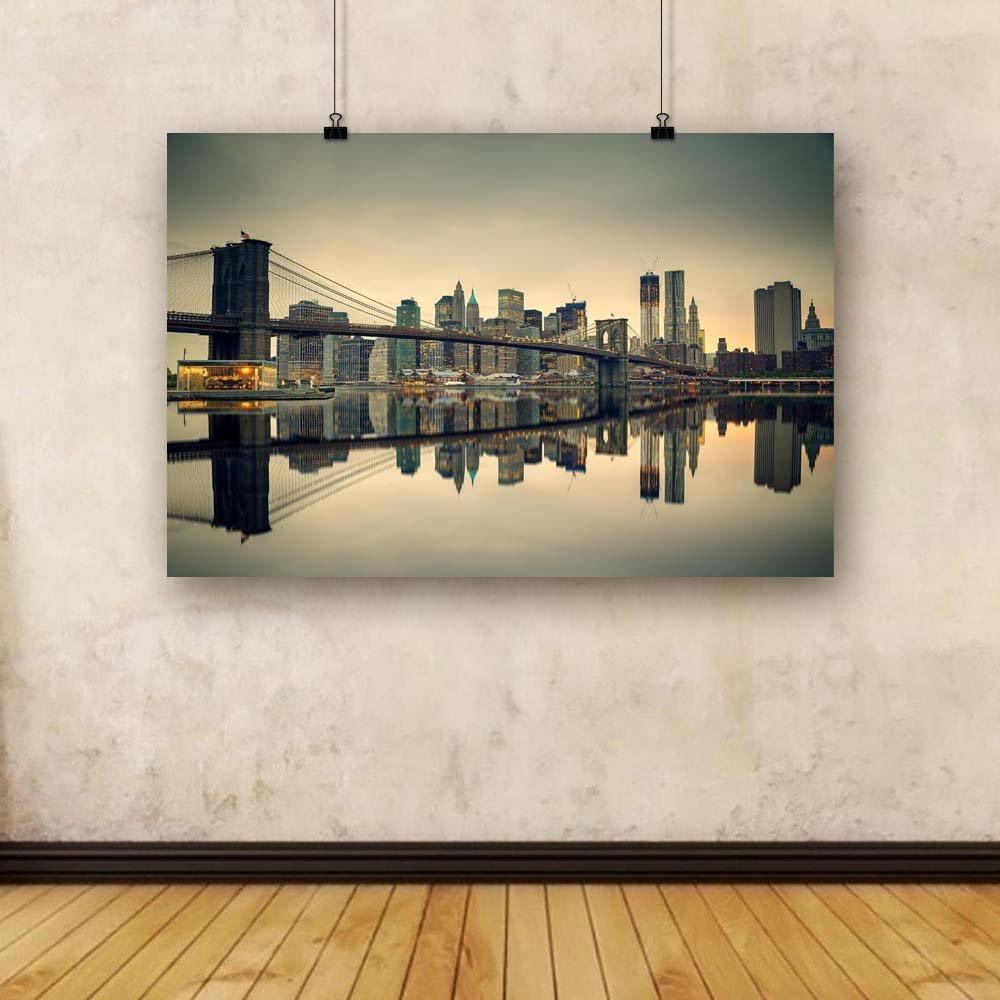 Pitaara Box Brooklyn Bridge & Manhattan At New Dusk, New At York USA Unframed Canvas Painting 48.1 x 32inch 549047