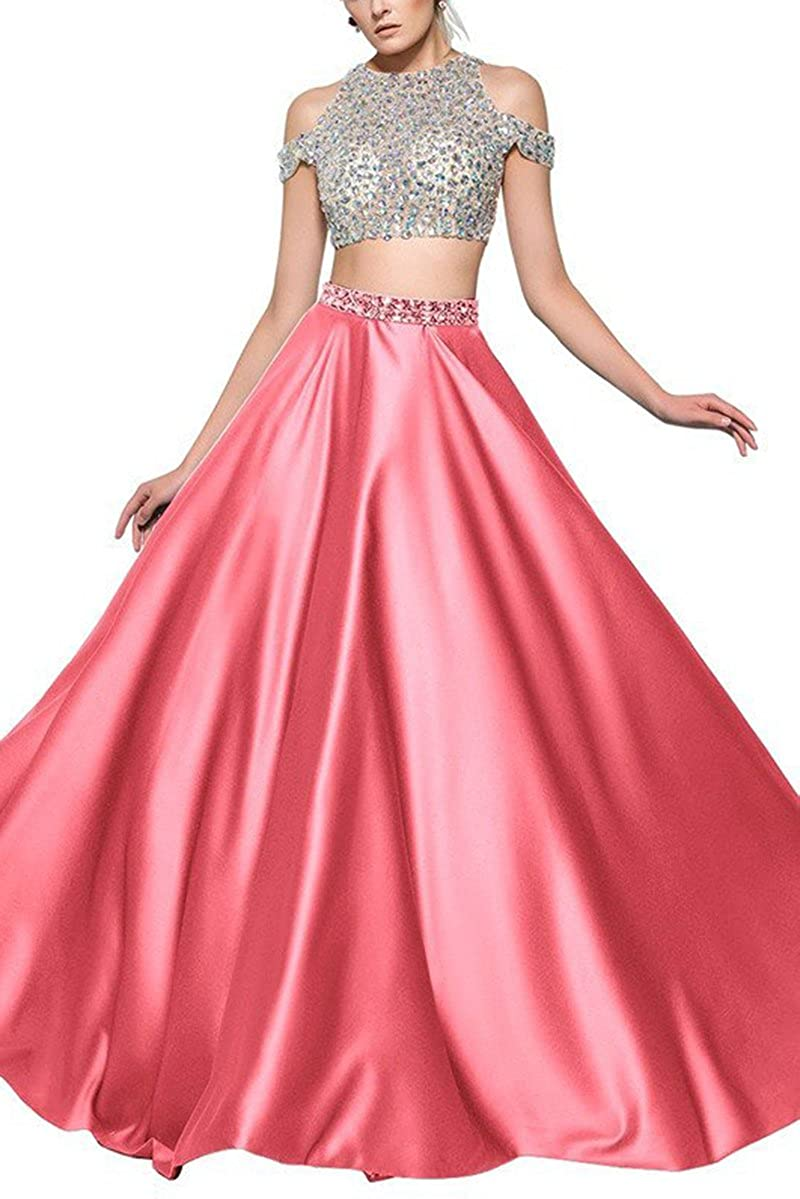 Z Stylewatermelon SDRESS Women's Beaded Rhinestones Crewneck Aline 2 Pieces Tulle Prom Dress
