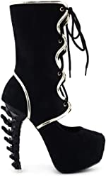 SHOW STORY Hot Black Red Two Tone Lace-Up Bone Heel Platform Party Boot 11fb990c3422