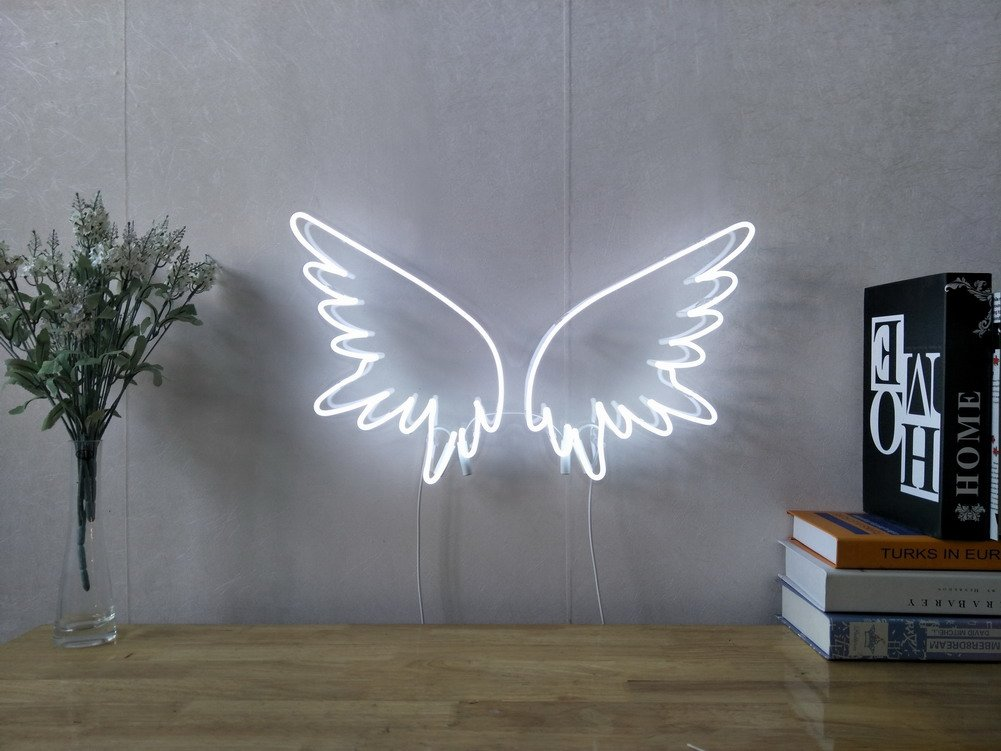 Angel Wings Real Glass Neon Sign For Bedroom Garage Bar Man Cave Room Home Decor Handmade Artwork Visual Art Dimmable Wall Lighting Includes Dimmer