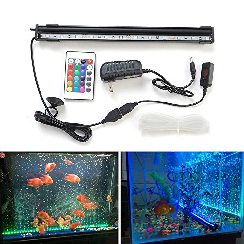 12 Inch 12 RGB LED Aquarium Fish Tank Underwater Submersible Air Bubble 16 Colors Changing Lights Waterproof (Sd Tank Supply)