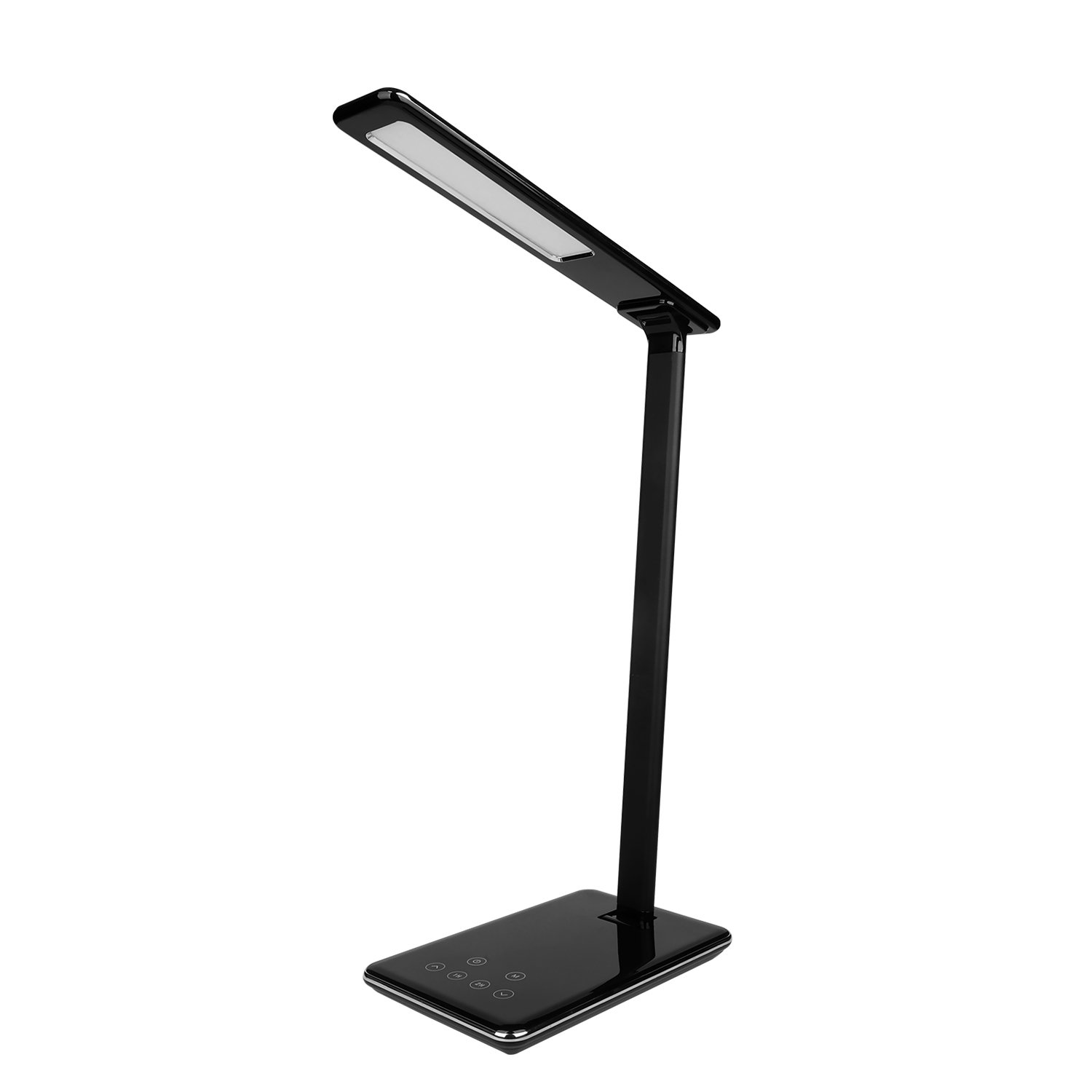 MACASA Led Desk Lamp 5W Dimmable Table Lamp with USB Charging Port,4 Color Temperatures,Touch Control,Timer Setting Memory Function Black