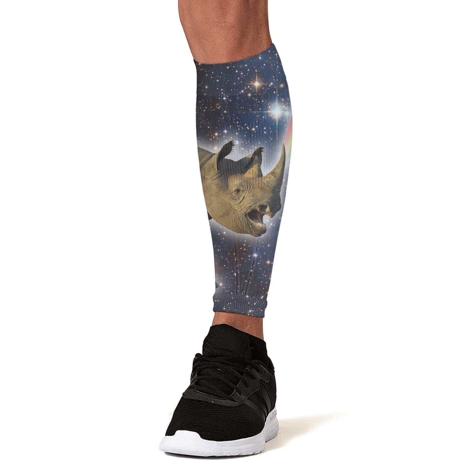 Smilelolly Rhino Rainbow Galaxy Calf Compression Sleeves Helps Faster Recovery Leg Sleeves for Men Women