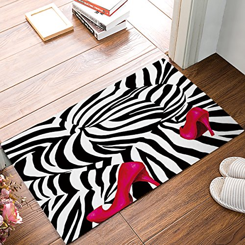 Fashion Zebra Pink High Heels Print Absorbent Bath Mats Indoor Kitchen Floor Bathroom Entrance Rugs Home Decor Doormat Carpets Non Slip Rubber Backing Black & White