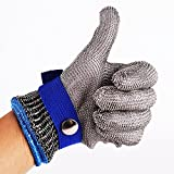 Blue Safety Cut Proof Stab Resistant Stainless Steel Metal Mesh Butcher Glove High Performance Level 5 Protection Size M