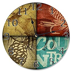 Stupell Home Décor Rustic Wildlife Moose Decorative Vanity Wall Clock, 12 x 0.4 x 12, Proudly Made in USA