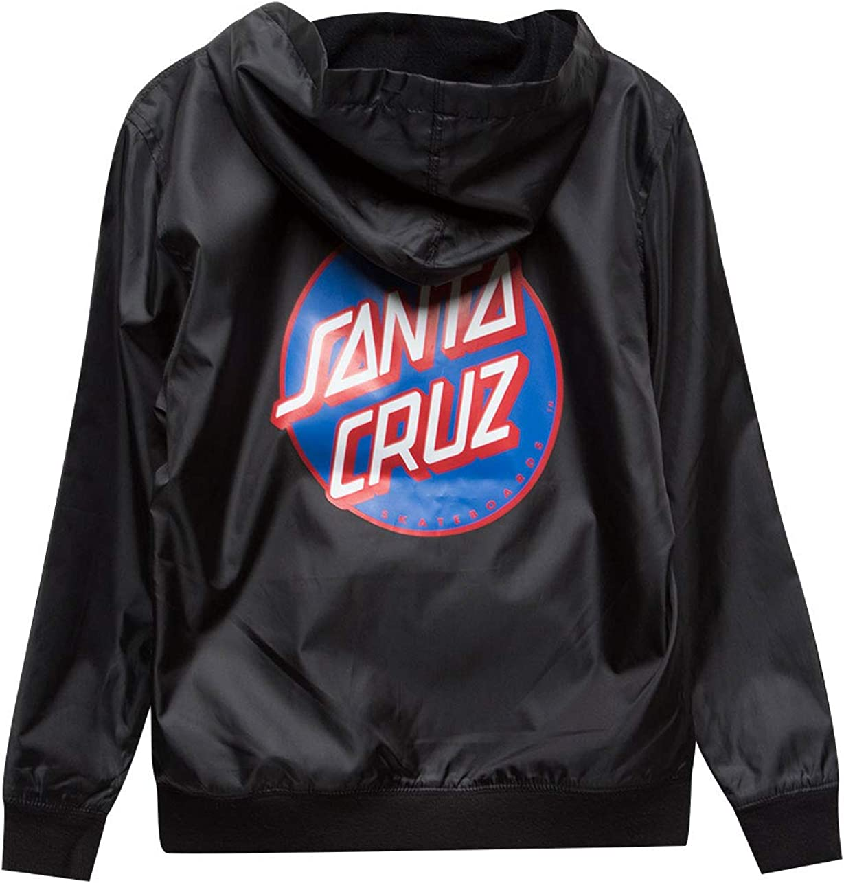 Santa Cruz Big Boys Dot Hooded Windbreaker Jackets,Small,Black//Blue