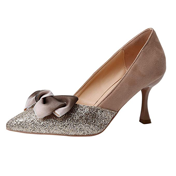 600b30bca59 Amazon.com  Cenglings Casual Women Sequins Pointed Toe Stiletto Heel Pumps  Shallow Mouth Slip On Bow Women Party Sandals Beige  Clothing