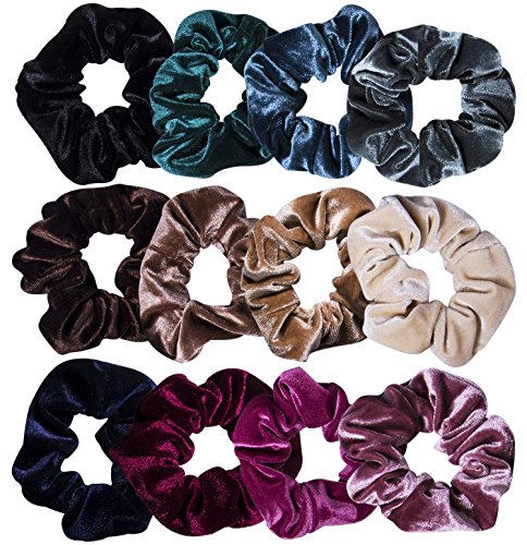 12 Pcs Hair Scrunchies Velvet Elastic Hair Bands Scrunchy Hair Ties Ropes Scrunchie for Women or Girls Hair Accessories - 12 Assorted Colors Scrunchies