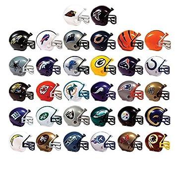 Juego DE 10 Mini Cascos de Fútbol NFL con Logo y Máscara de 5 cm –