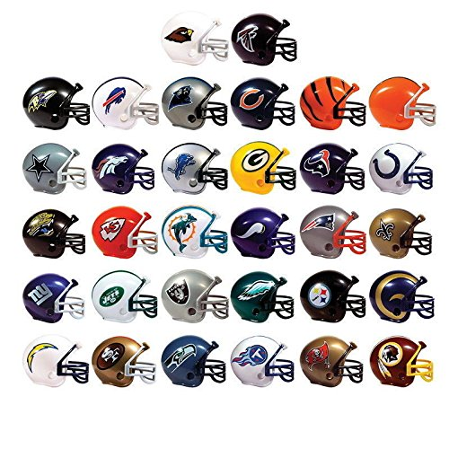 Mix of 15 Random NFL Mini Football Helmets with Logo and Mask 2 Inch - 15 Different Teams in Set - Kids Birthday Cake Toppers Boys Superbowl Party Decoration Ornament Favors Vending Machine Lot (Party City Baltimore)