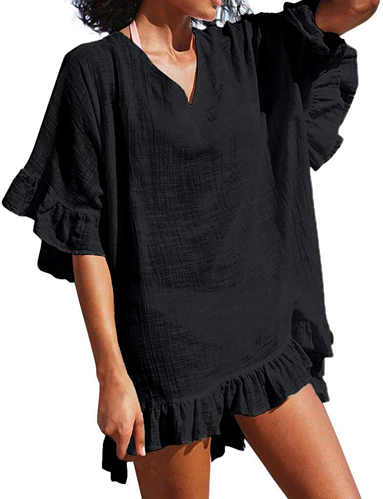 OMSJ Cute Dresses Womens Swimsuit Loose Cover ups Bikini Beach Tunic Top
