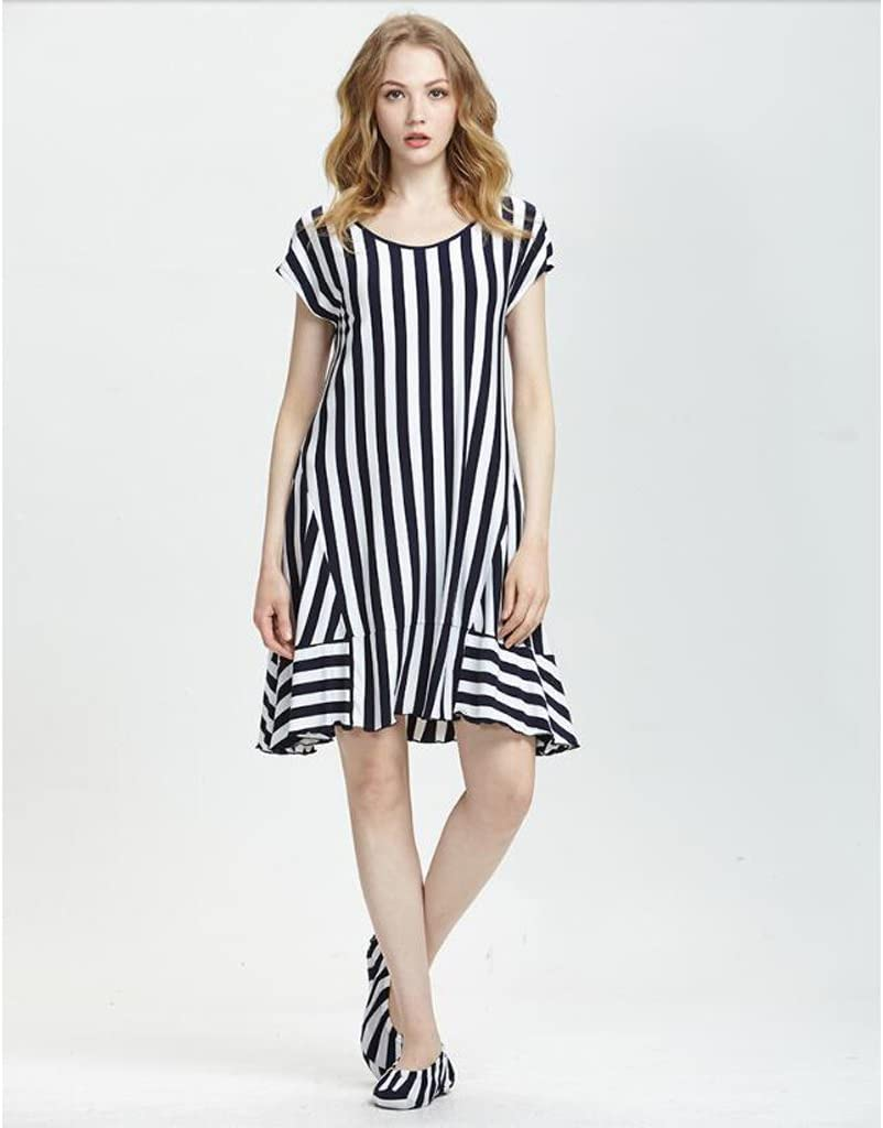 Pijamas de Verano de Manga Corta camisón de Mujer de Rayas ...
