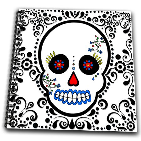 3dRose db_28865_1 Day of The Dead Skull Dia De Los Muertos Sugar Skull Red Black Scroll Design Drawing Book, 8 by 8-Inch