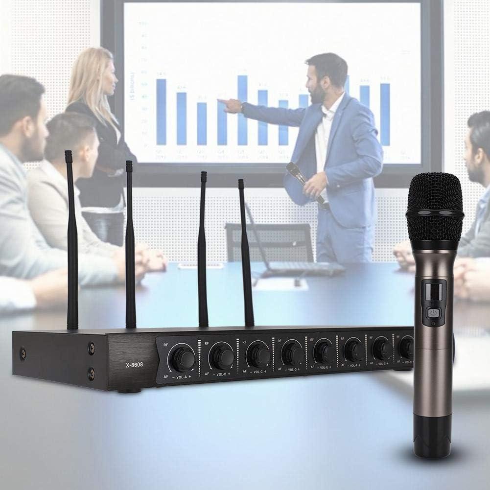 Chiesa EU Microfono Senza Fili in Metallo UHF 700 MHz ASHATA Microfono Senza Fili Karaoke Night 790 MHz 1 a 8 Set di microfoni palmari Professionali Wireless per Feste familiari