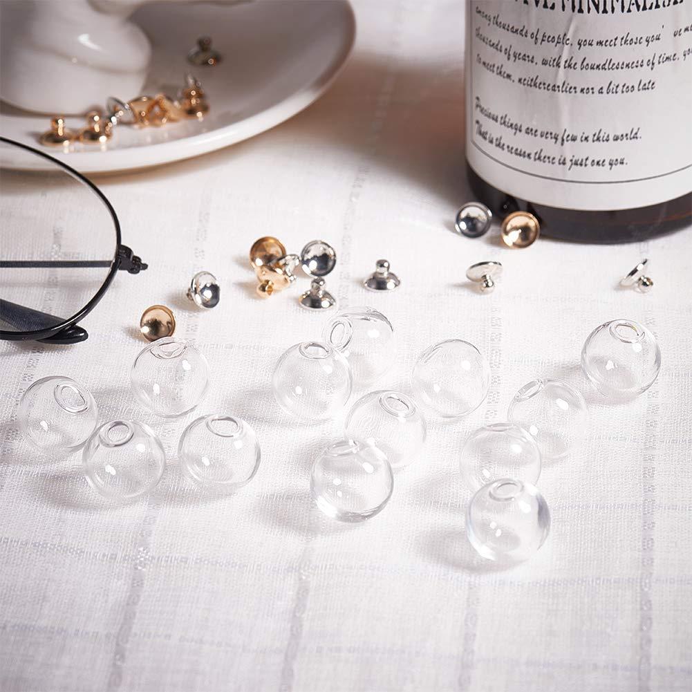 PH PandaHall 30pcs 16mm Mini Clear Glass Globe Bottle Wish Glass Ball Bottles for DIY Pendant Charms Stud Earring Making,8mm Cap Silver,Gold