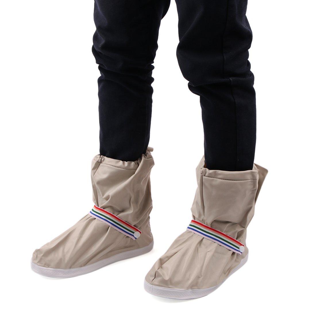 uxcell 1Pair Beige Motorcycle Anti-Slip Waterproof Adjustable Rain Shoes Boot Cover L