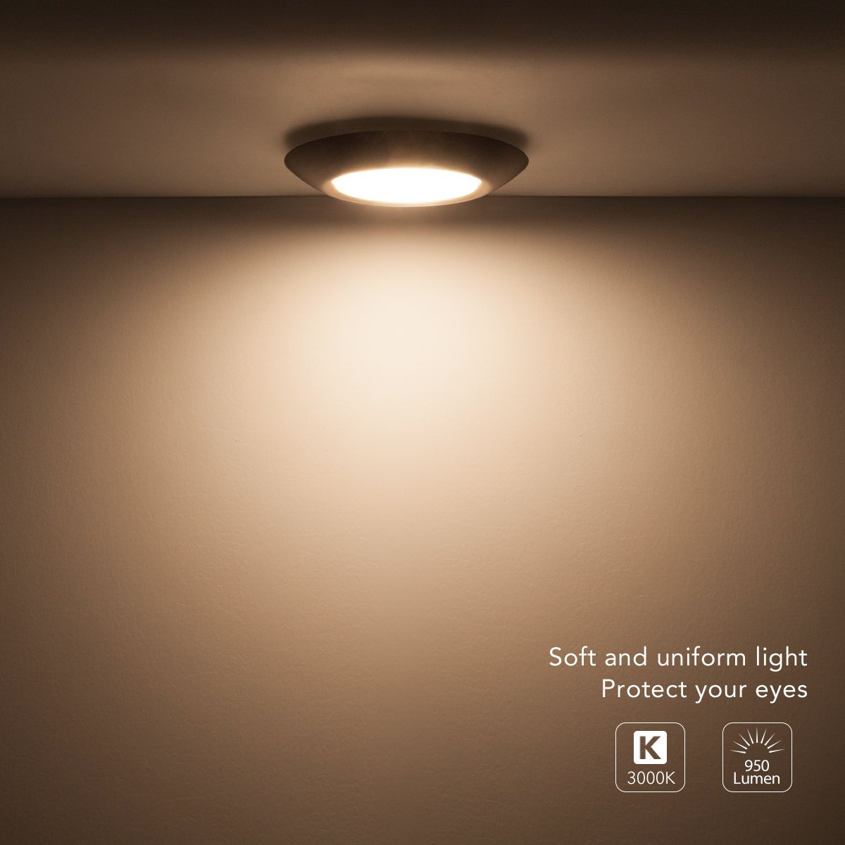 SOLLA 7.5 inch Dimmable LED Disk Light Flush Mount Ceiling Fixture with ETL FCC Listed, 950LM, 15W (90W Equiv.), Warm White, 3000K, Bronze Finish, Ultra-Thin, Round LED Light for Home, Hotel,Office by SOLLA (Image #3)