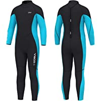 Hevto Wetsuits Kids and Youth 3mm Neoprene Full Suits Long Sleeve Surfing Swimming Diving Swimsuits Keep Warm Back Zip…