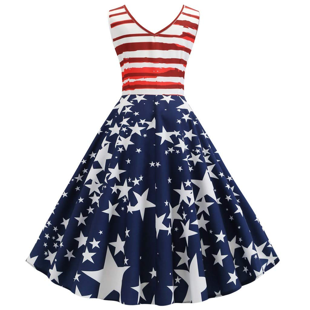YOCheerful Women Gown Vintage Sleeveless V Neck American Printing Evening Party Swing Dress Flowy Elegant Dress