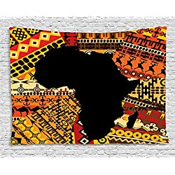 Ambesonne African Decor Tapestry, Abstract Art Style Africa Map on Ethnic Carpet Background Illustration, Wall Hanging Bedroom Living Room Dorm, 60WX40L Inches, Black Orange