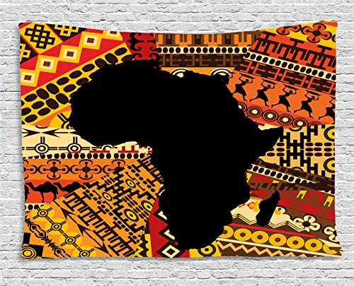 Ambesonne African Decor Tapestry by, Abstract Art Style Africa Map on Ethnic Carpet Background Illustration, Wall Hanging for Bedroom Living Room Dorm, 60WX40L Inches, Black and Orange