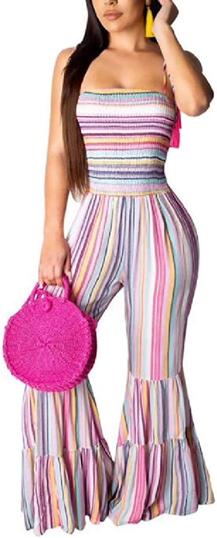CRYYU Women Fashion Contrast Color Bell Bottoms Wide Leg Club Long Jumpsuits