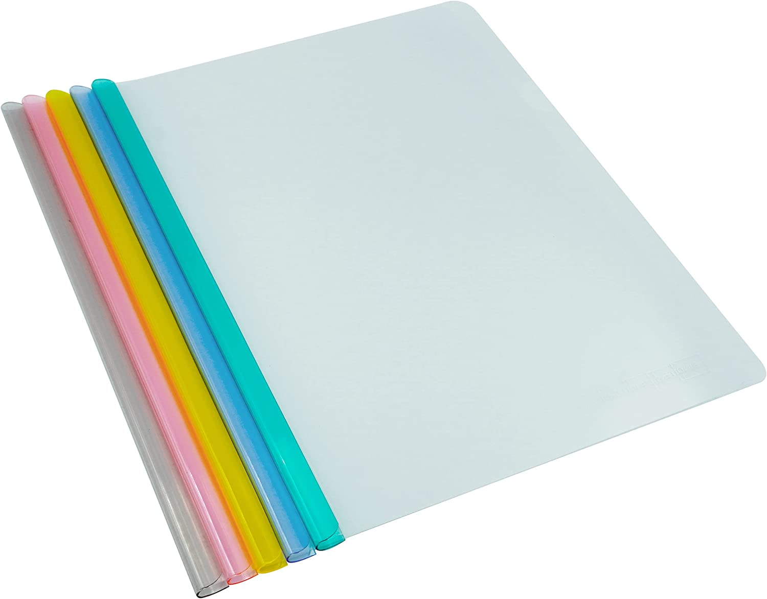 TOTiyea 40 Pcs Clear Report Covers with Sliding Bars,7mm Sliding Bar File Folder Binder for Letter and A4 Size Paper,70 Sheet Capacity 5 Assorted Colors