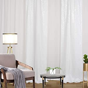 White Sequin Backdrop Curtain 4 Pack 2ft x 8ft Halloween Backdrop Birthday Party Wall Backdrop Wedding Ceremony Background