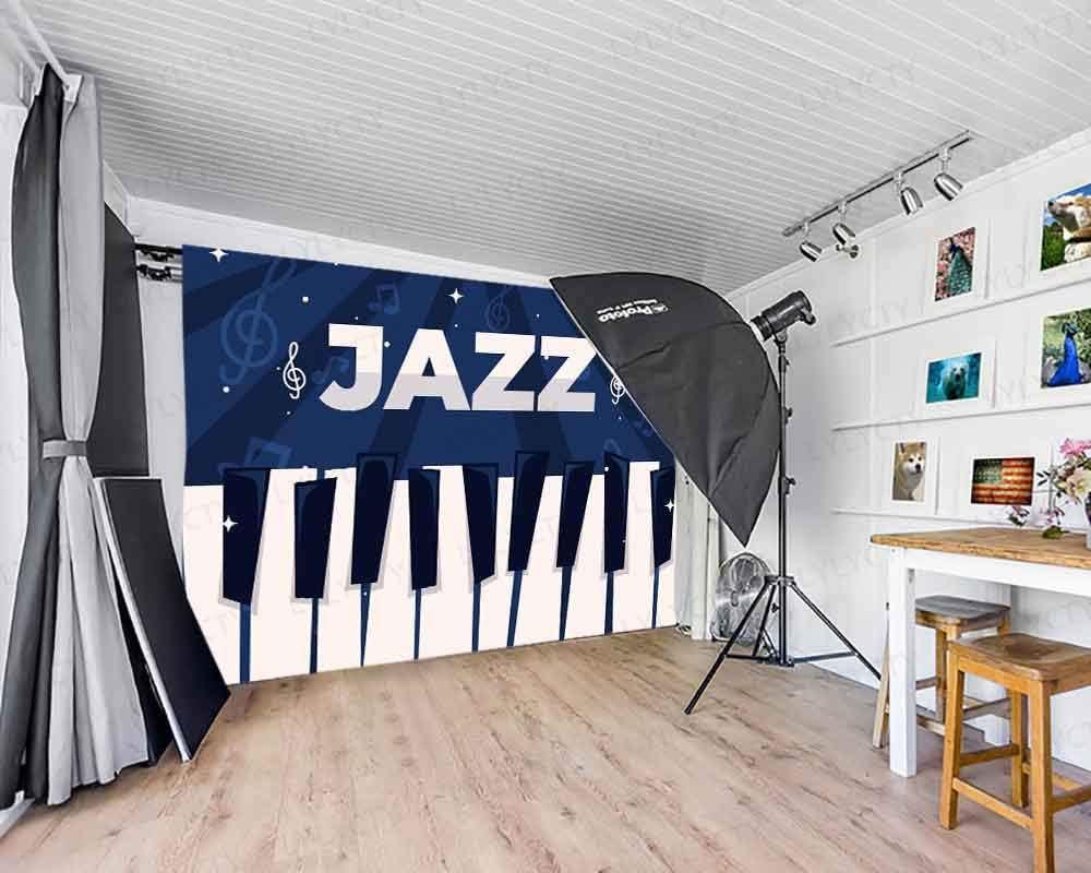 LYLYCTY 7x5ft Jazz Theme Photography Background Boy Girl Birthday Party Music Backdrop Event Decor Banner Photography Studio Props BJDSLY77