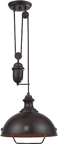 Elk 65071-1 14-Inch Farmhouse 1-Light Pendant, Oiled Bronze