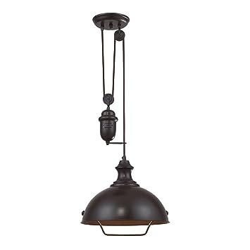 elk 14inch farmhouse 1light pendant oiled bronze - Farmhouse Light Fixtures