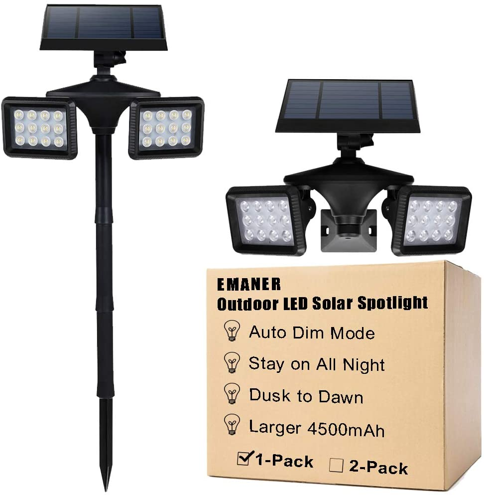 Dusk to Dawn Solar Flood & Security Lights with Motion Sensor, 100W Equivalent Outdoor Wireless Landscape LED Spotlights 6500K, Solar Powered 4500mAh, Wall Mount or Stand in Ground, 1-Pack, EMANER