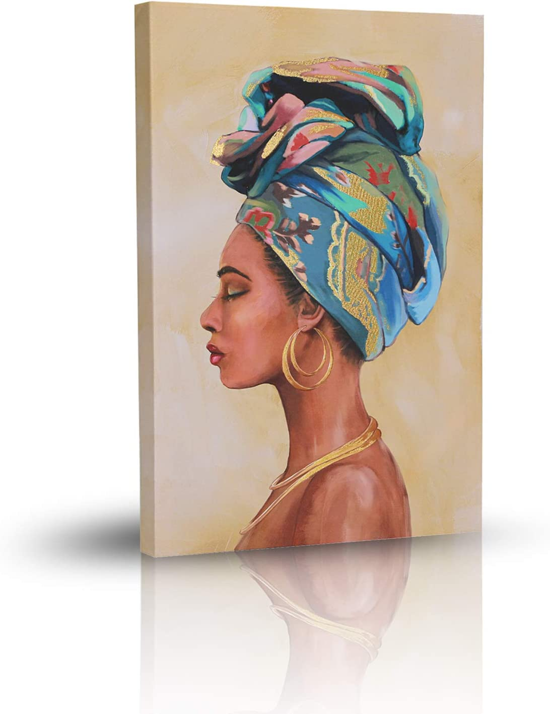 MKLQL Africa Wall Art Posters and Prints for Bedroom Living Room African American Woman Portrait Gold foil Painting Wall Picture on Canvas -40×60cm