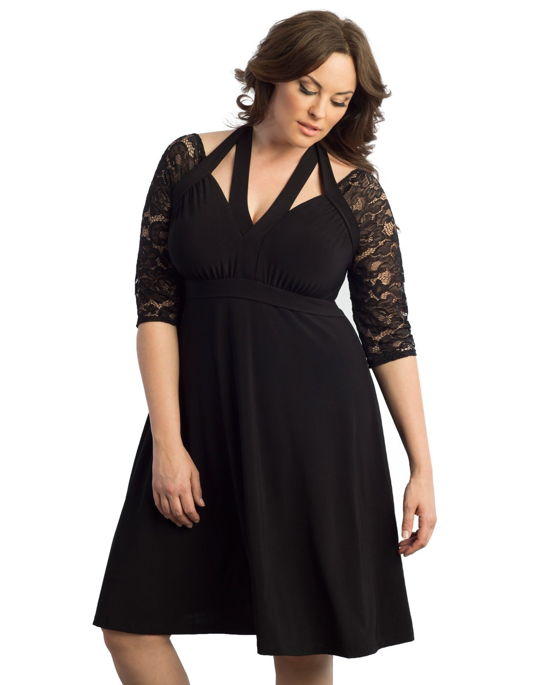 Kiyonna Women's Plus Size LURING Lace Dress 1X Black Noir by Kiyonna Clothing