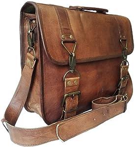 17 Inch Vintage Handmade Leather Messenger Bag Laptop Briefcase Computer Satchel bag For Men